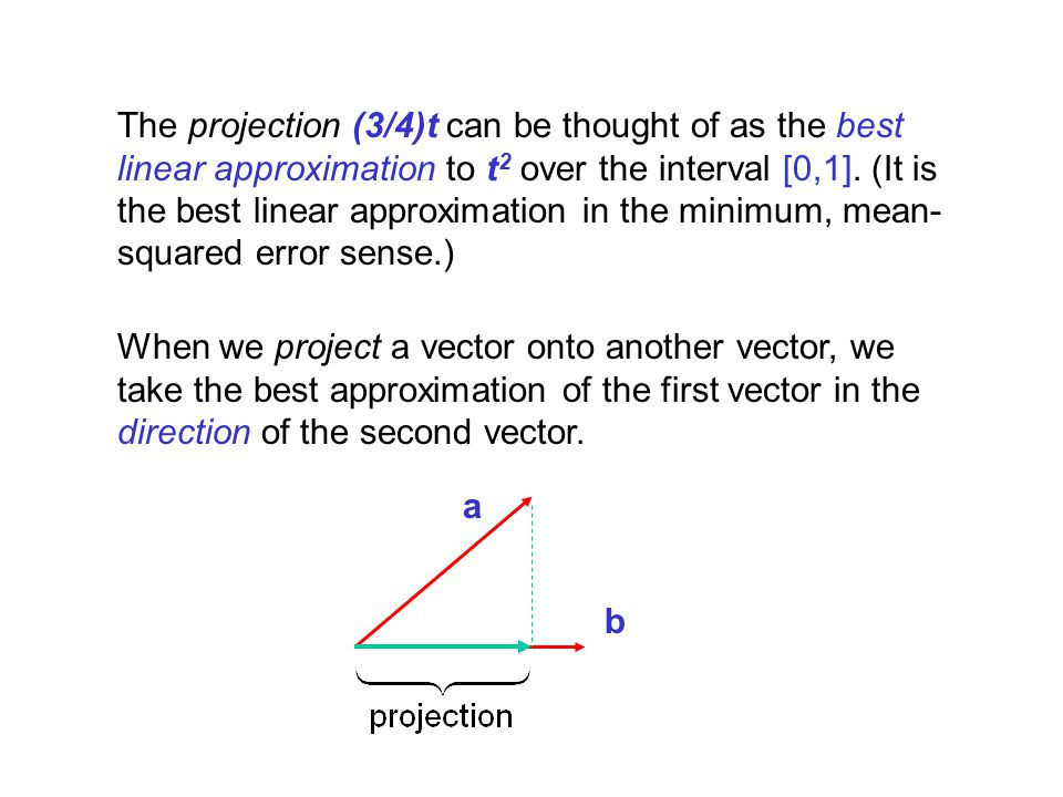 The projection (3/4)t can be thought of as the best linear approximation to t2 over the interval [0,1]. (It is the best linear approximation in the minimum, mean-squared error sense.)